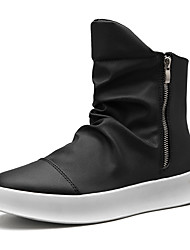 cheap -Men's Fashion Boots Faux Leather Spring & Summer / Fall & Winter Casual Boots Breathable Black and White / White