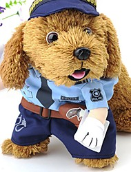 cheap -Dogs Costume Dog Clothes White Blue Halloween Costume Polyster Color Block Funny S M