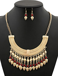 cheap -Women's Synthetic Ruby Necklace Retro Vertical / Gold bar Vintage Earrings Jewelry Gold For Party 1 set