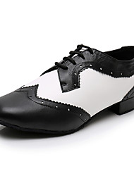 cheap -Men's Modern Shoes / Ballroom Shoes PU Lace-up Heel Thick Heel Dance Shoes Black / White / Performance / Practice
