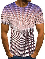 cheap -Men's Plus Size Geometric 3D Pleated Print T-shirt Street chic Weekend Round Neck Purple / Short Sleeve