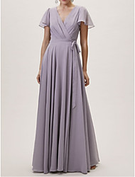 cheap -A-Line V Neck Floor Length Chiffon / Lace Bridesmaid Dress with Sash / Ribbon / Pleats