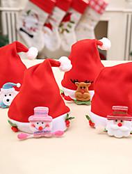 cheap -Christmas Red Hat Santa Claus Snowman Elk Festive Party Supplies Cap Gifts Decor Cute 4pcs