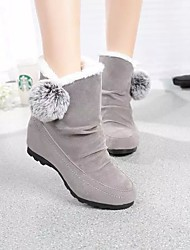 cheap -Women's Boots Snow Boots Flat Heel Round Toe Pom-pom Satin Winter Black / Burgundy / Gray