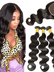 cheap -3 Bundles with Closure Brazilian Hair Body Wave Virgin Human Hair Remy Human Hair Natural Color Hair Weaves / Hair Bulk Bundle Hair Human Hair Extensions 8-24 inch Natural Color Human Hair Weaves
