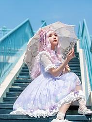 cheap -Sweet Lolita Cute Lolita Dress Girls' Female Japanese Cosplay Costumes Light Purple Animal Petal Sleeve Sleeveless Short Sleeve Knee Length