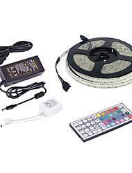 cheap -5m RGB Strip Lights / Remote Controls 1170 10mm LEDs 1 44Keys Remote Controller / 1 X 12V 5A Power Supply RGB Cuttable / Party / Wedding 220-240 V / 110-120 V 1 set