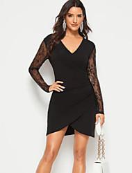 cheap -Women's Mini Black Dress Elegant Daily Bodycon Solid Colored V Neck Lace Cut Out Split S M Slim