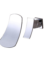 cheap -Bathroom Sink Faucet - Waterfall Chrome Wall Mounted Two Holes / Single Handle Two HolesBath Taps