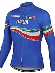 cheap -21Grams Italy National Flag Men's Long Sleeve Cycling Jersey - Blue Bike Jersey Top Thermal / Warm UV Resistant Breathable Sports Winter Fleece 100% Polyester Mountain Bike MTB Road Bike Cycling