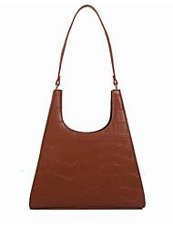 cheap -Women's PU Top Handle Bag Solid Color Black / Dark Brown / Red Brown