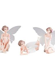 cheap -3PCS DIY Miniature White Angel Flower Ornaments Home Decoration Cartoon Gifts Desk Car Cake Decor