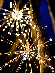 cheap -Waterproof 40 Branches 200LED Solar Power Hanging Starburst Lights LED Fireworks lamp LED Broom Copper Wire Warm White Lantern Creative Party Festival Decor