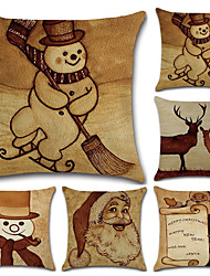 cheap -Christmas series retro snowman deer old man linen pillow cover cushion cover
