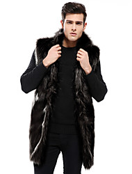 cheap -Men's Daily Winter Long Faux Fur Coat, Solid Colored Stand Sleeveless Faux Fur Black / Gray / Khaki