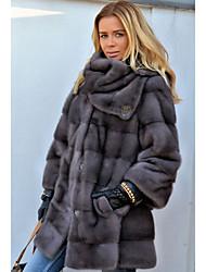 abordables -Manches Longues Fourrure de renard Mariage Etoles de Femme Avec Fourrure Manteaux / Vestes