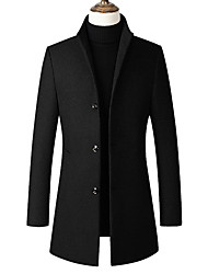 cheap -Men's Daily Long Trench Coat, Solid Colored Stand Long Sleeve Polyester Black / Wine / Gray