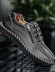 cheap -Men's Leather Shoes Leather Spring / Winter Casual Sneakers Walking Shoes Warm Black / Brown / Orange