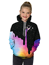 cheap -Kids Toddler Girls' Active Basic Black & White Geometric Galaxy Color Block Print Long Sleeve Hoodie & Sweatshirt Rainbow