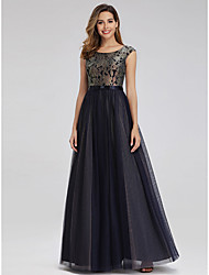 cheap -A-Line Elegant Formal Evening Dress Jewel Neck Sleeveless Floor Length Lace Tulle with Pattern / Print 2020