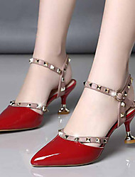 cheap -Women's Heels Kitten Heel Pointed Toe Rivet / Buckle Patent Leather Business / Minimalism Spring & Summer / Fall & Winter Black / Red / Pink
