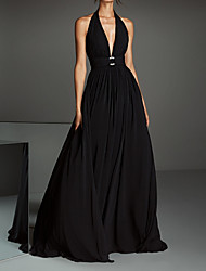 cheap -A-Line Halter Neck Court Train Chiffon Open Back Formal Evening Dress 2020 with Pleats