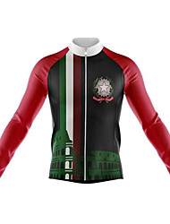 cheap -21Grams Italy National Flag Men's Long Sleeve Cycling Jersey - Green Bike Jersey Top Thermal / Warm UV Resistant Breathable Sports Winter Fleece 100% Polyester Mountain Bike MTB Road Bike Cycling