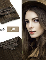 cheap -Neitsi Clip In Clip In / On Human Hair Extensions Straight Human Hair Human Hair Extensions Eurasian Hair Black Brown 7pcs Party Women With Bangs Female Dark Black