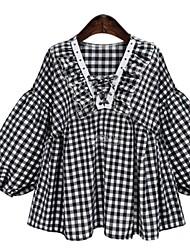 cheap -Women's Daily Shirt - Check Black