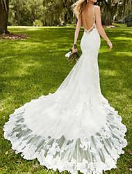 Недорогие -Русалка V-образный вырез С коротким шлейфом Кружева Свадебные платья Made-to-Measure с Кружева от