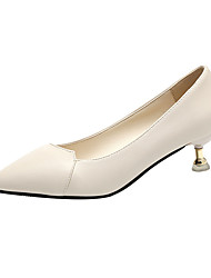 cheap -Women's Heels Kitten Heel Pointed Toe PU Minimalism Fall Black / Almond