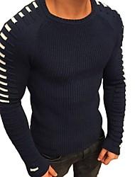 cheap -Men's Striped Long Sleeve Pullover Sweater Jumper, Round Neck White / Black / Army Green US32 / UK32 / EU40 / US34 / UK34 / EU42 / US36 / UK36 / EU44