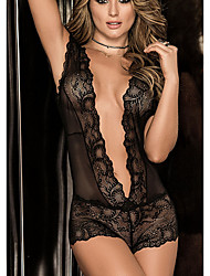 cheap -Women's Lace / Mesh Bodysuits Nightwear Solid Colored / Floral / Embroidered Black Wine S M L