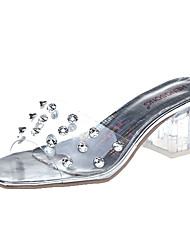 cheap -Women's Sandals Clear / Transparent / PVC Summer Chunky Heel Square Toe Daily Rivet PVC / PU Gold / Silver