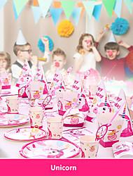 Недорогие -Детский душ День Рождения Единорог Тема Вечеринка украшения Поставки Единорог бумажный стаканчик тарелка посуда поставки