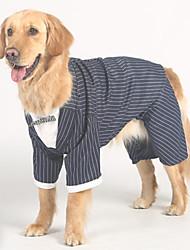 abordables -Chiens Combinaison-pantalon Vêtements pour Chien Noir Costume Bébé Petit Chien Polyester Rayé Mariage XXXL XXXXL XXXXXL / Grand chien