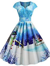 cheap -Women's Christmas Party Festival Vintage Basic Swing Dress - Geometric Snowflake Santa Claus, Print V Neck Blue S M L XL