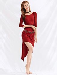 cheap -Belly Dance Dresses Women's Performance Tulle Ruching 3/4-Length Sleeve Dress