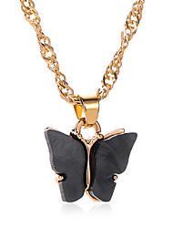 Недорогие -Жен. Ожерелья с подвесками Цепочка Классический Бабочка модный корейский Мода Симпатичные Стиль Хром Черный Белый Лиловый Желтый Синий 51 cm Ожерелье Бижутерия 1шт Назначение
