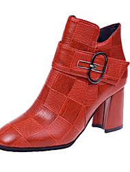 cheap -Women's Boots Chunky Heel Round Toe PU Fall Black / Red