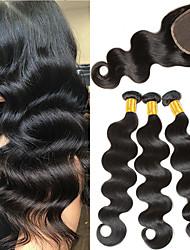 cheap -3 Bundles with Closure Malaysian Hair Body Wave Virgin Human Hair 100% Remy Hair Weave Bundles Natural Color Hair Weaves / Hair Bulk Bundle Hair Human Hair Extensions 8-24 inch Black Natural Color