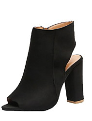 cheap -Women's Boots Chunky Heel Peep Toe Suede Booties / Ankle Boots Summer Black / Pink / Beige