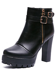 cheap -Women's Boots Chunky Heel Round Toe Faux Leather / PU Spring / Fall & Winter Black / Party & Evening