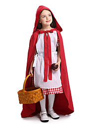 cheap -Little Red Riding Hood Halloween Props Kid's Boys' Halloween Halloween Festival / Holiday Knitting Red Carnival Costumes / Dress / Apron / Cloak / Hat
