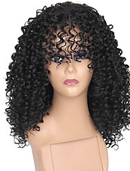 cheap -Synthetic Wig Afro Afro Curly With Bangs Wig Medium Length Black#1B Synthetic Hair 14 inch Women's Adjustable Heat Resistant Classic Black / African American Wig / For Black Women