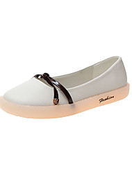 cheap -Women's Flats Flat Heel Round Toe PU Casual Fall Black / Brown / White