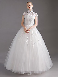 cheap -Ball Gown High Neck Floor Length Polyester / Lace / Tulle Short Sleeve Made-To-Measure Wedding Dresses with Crystals / Lace 2020