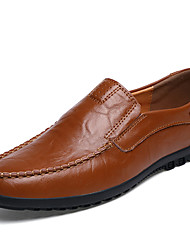 cheap -Men's Comfort Shoes Cowhide Spring / Fall Business Loafers & Slip-Ons Walking Shoes Breathable Booties / Ankle Boots Black / Light Brown / Dark Brown