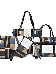 cheap -Women's Pattern / Print / Zipper Canvas Bag Set Color Block 6 Pieces Purse Set Black / Brown / Blue