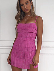 cheap -Women's Mini Bodycon Dress - Sleeveless Solid Colored Tassel Fringe Strap Elegant Party Slim White Black Blushing Pink S M L
